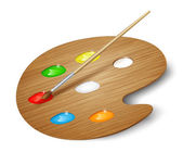 Wooden art palette with paints and brush. Vector — Stock Vector