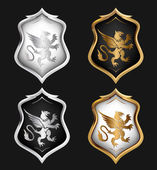 Heraldry Shields Set. Vector — Vettoriale Stock