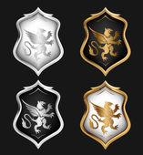 Heraldry Shields Set. Vector — Stock Vector