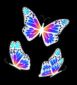 Three colorful butterflies. Vector — Stock Vector