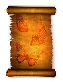 Stary zwój papieru z suszonych motyle. wektor — Wektor stockowy