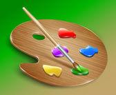 Palette d'art en bois avec peintures et pinceau. vector — Vecteur