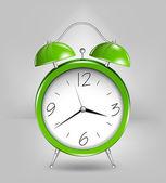 Reloj alarma verde. vector — Vector de stock