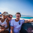 Happy friends boat trip on summer vacation day — Stock Photo #47295565