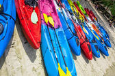 Colorful kayaks lined in a row on a white sand beach — Stock Photo