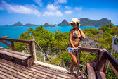 View from mountain on  Angthong Marine National Park and posing woman — Stock Photo
