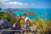 Couple of friend posing on a viewing platform in the marine park — Foto de Stock