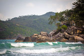 Tropical beach at Koh Phangan - nature background. Thailand — Stockfoto