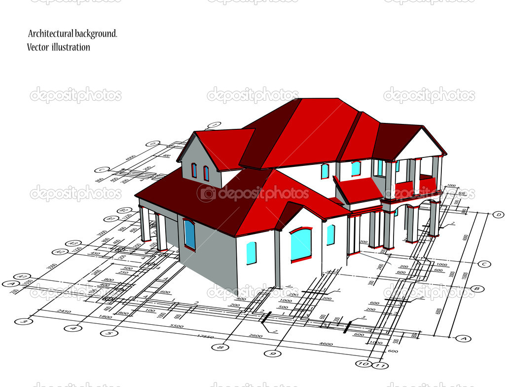 3d house vector technical draw stock vector emaria 5911929 3d house drawing