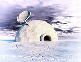 Satellite and igloo — Stock Photo