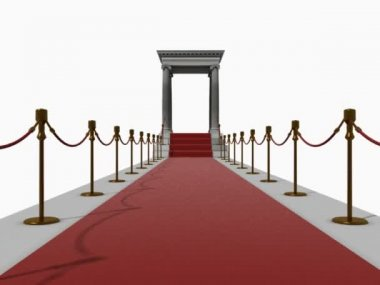 Camera motion to red carpet staircase in antique style (3D rendering)