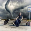 Woman and tornado — Stock Photo