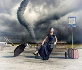 Woman and tornado — Stock Photo