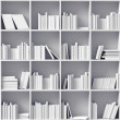 Stock Photo: White bookshelves