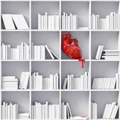 Heart on the bookshelves — Stock Photo