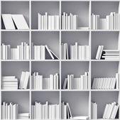 Beyaz kitap rafı — Stok fotoğraf