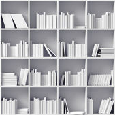 White bookshelves — 图库照片