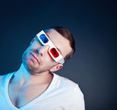 Man and stereo glasses — Foto de Stock