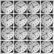 Clocks on the white shelves — Stockfoto