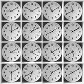 Clocks on the white shelves — Stock Photo
