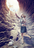 Girl in the deep hole — Stock Photo