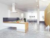 Flooding kitchen — Stock Photo