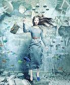 Žena pod vodou — Stock fotografie