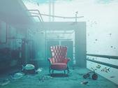 Armchair underwater — Stock Photo