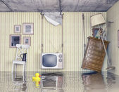 Life in the flooded flat — Stock Photo