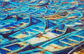 Fishing boats painting — Stock Photo