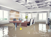 Flooding office interior. — Stock Photo