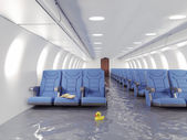 Flooding airplane interior — Stock Photo