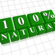 100 percent natural in 3d green cubes — Stock Photo