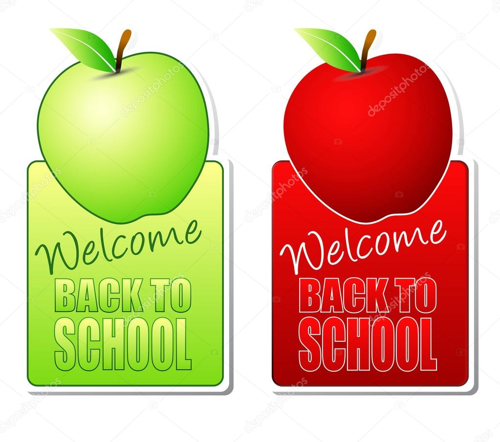 Welcome back to school green and red labels  Stock Photo #12681766