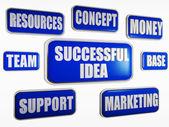 Successful idea - blue business concept — Stock Photo