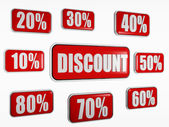 Discount and different percentages in red banners — Stock Photo