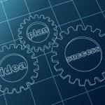 Idea, plan, success in blue gear-wheels — Stock Photo