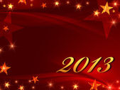 Golden year 2013 with stars — Stock Photo