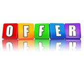 Nabídka - písmena v barevné kostky — Stock fotografie