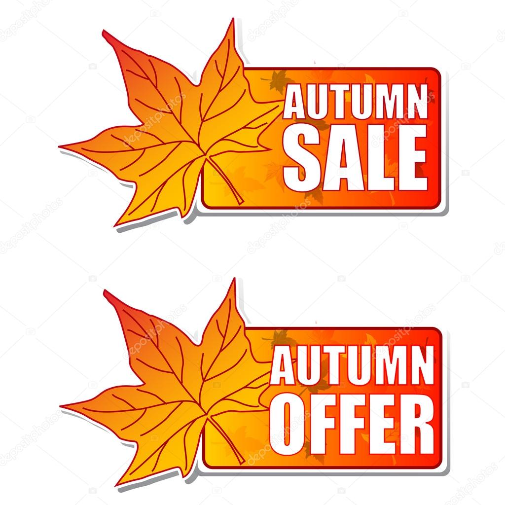 Autumn sale and offer - orange labels with text and leaf — Stock Photo #13257833