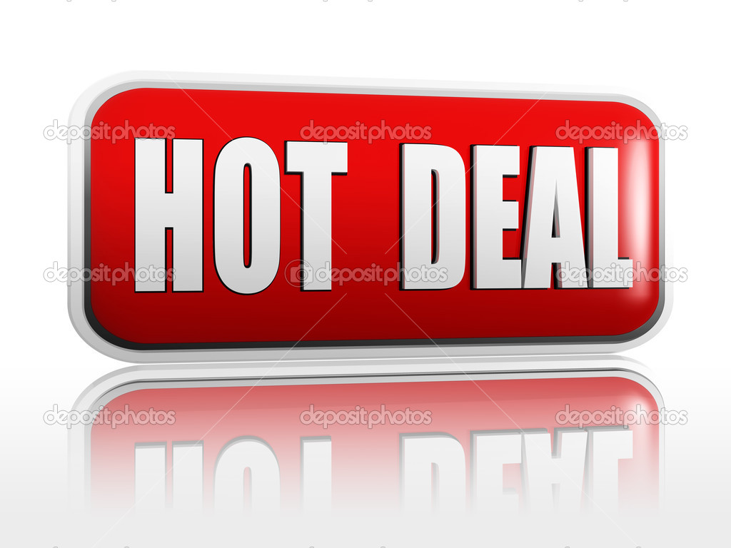Hot deal 3d red banner with white text — Stock Photo #13257844