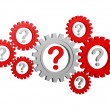 Question-marks in gearwheels — Stock Photo