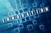 Blue innovation in glass blocks — Stock Photo