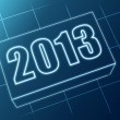 Stock Photo: Year 2013 in blue glass block