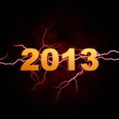 Golden year 2013 with lightning — Stock Photo