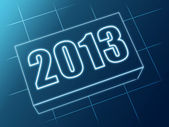 Year 2013 in blue glass block — Stock Photo