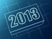 Anno 2013 in blocco di vetro blu — Foto Stock