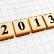 Stock Photo: Year 2013 in golden cubes