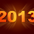 Golden year 2013 with rays — Stock Photo