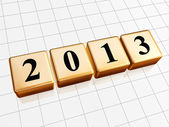Year 2013 in golden cubes — Stock Photo